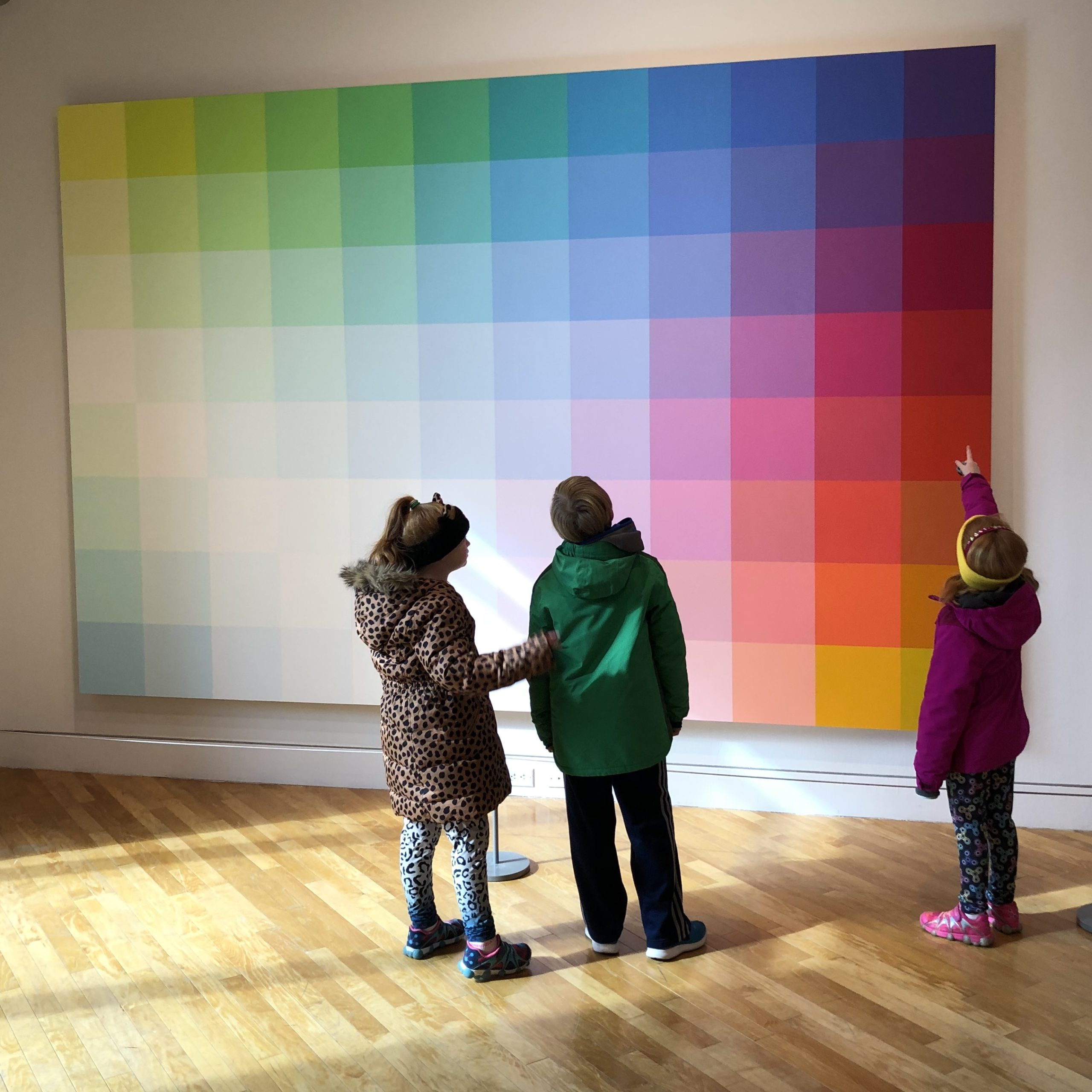 Kids looking at color